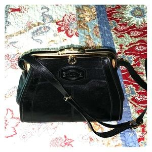 Oroton Australia black leather crossbody bag
